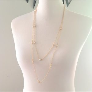 LOFT Double Layer Long Gold Diamond Necklace
